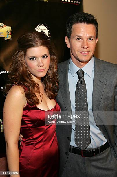 Kate Mara and Mark Wahlberg during 'Shooter' Boston Premiere Arrivals at Loews Theatre Boston Common in Boston Massachusetts United States