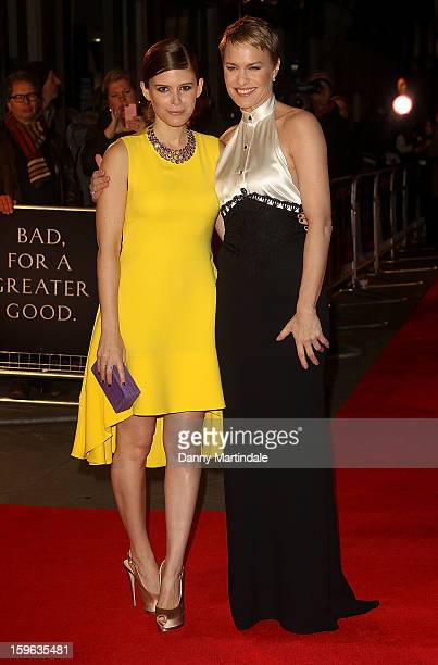 Kate Mara and Robin Wright attend the red carpet premiere for the launch of Netflix Original Series, House of Cards on January 17, 2013 in London,...