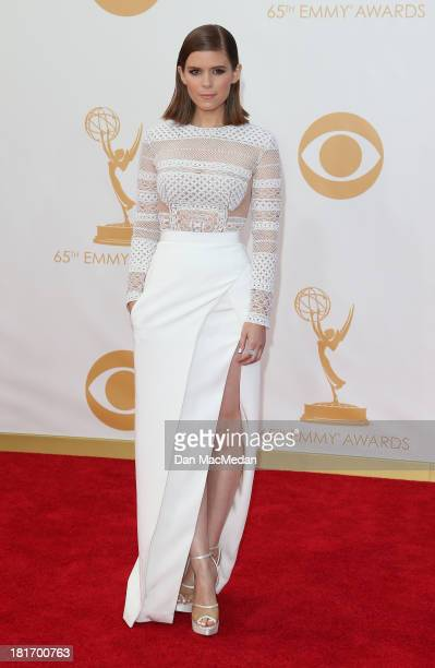 Kate Mara arrives at the 65th Annual Primetime Emmy Awards at Nokia Theatre LA Live on September 22 2013 in Los Angeles California