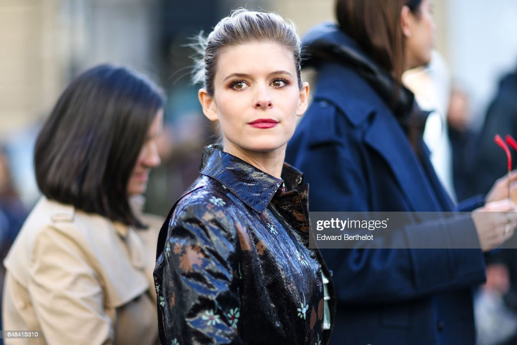 Kate Mara is seen, outside the Valentino show, during Paris Fashion Week Womenswear Fall/Winter 2017/2018, on March 5, 2017 in Paris, France.
