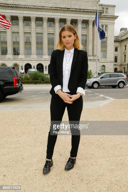 Kate Mara joins The Humane Society of the United States' rally at USDA on June 7 2017 in Washington DC Advocates rallied to urge USDA to restore...