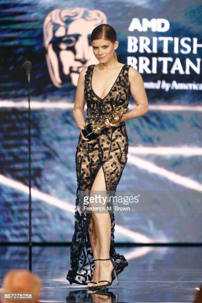 Kate Mara onstage to present Stanley Kubrick Britannia Award for Excellence in Film presented by Newegg at the 2017 AMD British Academy Britannia...