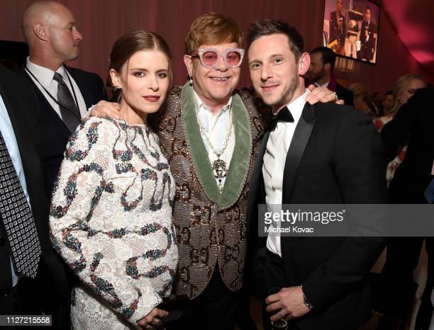 Kate Mara Sir Elton John and Jamie Bell attend the 27th annual Elton John AIDS Foundation Academy Awards Viewing Party sponsored by IMDb and Neuro...