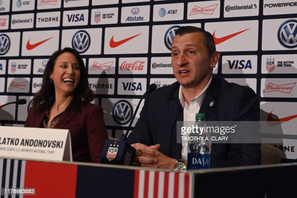 Kate Markgraf US Womens National Team General Manager looks on as Vlatko Andonovski is announced as the new US Soccer Womens National Team head coach...