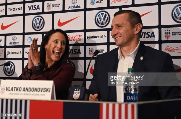 Kate Markgraf US Womens National Team General Manager reacts as Vlatko Andonovski is announced as the new US Soccer Womens National Team head coach...