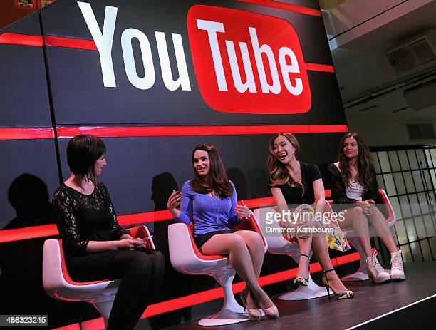 Kate Mason Rosanna Pansino Michelle Phan and Bethany Mota speak onstage at Unleash YouTube Event with stars Michelle Phan Rosanna Pansino And Bethany...