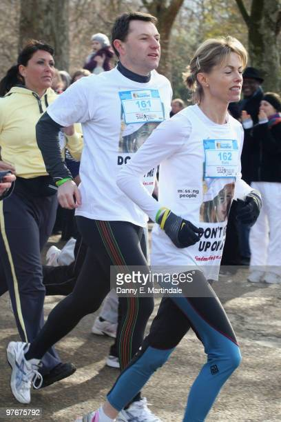 Kate McCann and Gerry McCann during the Miles For Missing People run held in Hyde Park on March 13 2010 in London England