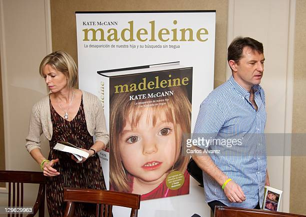 Kate McCann and Gerry McCann leave after the launch of Kate McCann's book Madeleine at the Wellington Hotel on October 19 2011 in Madrid Spain Kate...