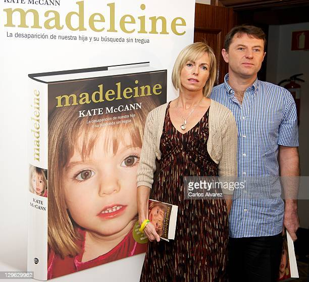Kate McCann and Gerry McCann pose during the launch of Kate McCann's book 'Madeleine' at the Wellington Hotel on October 19 2011 in Madrid Spain Kate...