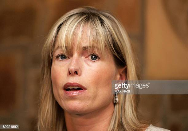 Kate McCann gives a press conference with her husband Gerry in Rothley on July 21 2008 after they were taken off the Portuegese police suspects list...