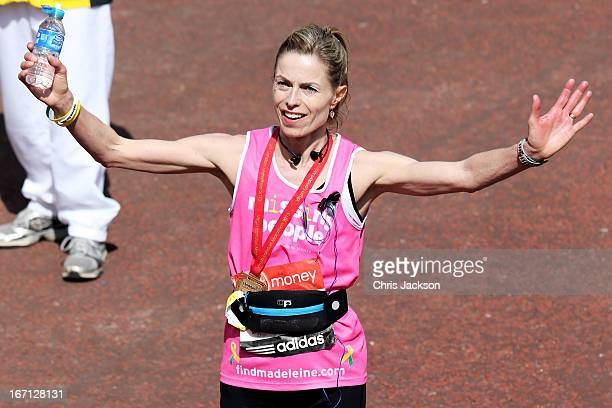 Kate McCann poses after crossing the finish line during the Virgin London Marathon 2013 on April 21 2013 in London England