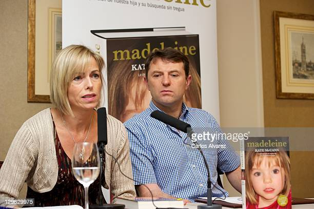 Kate McCann speaks as Gerry McCann listens during the launch of Kate McCann's book 'Madeleine' at the Wellington Hotel on October 19 2011 in Madrid...