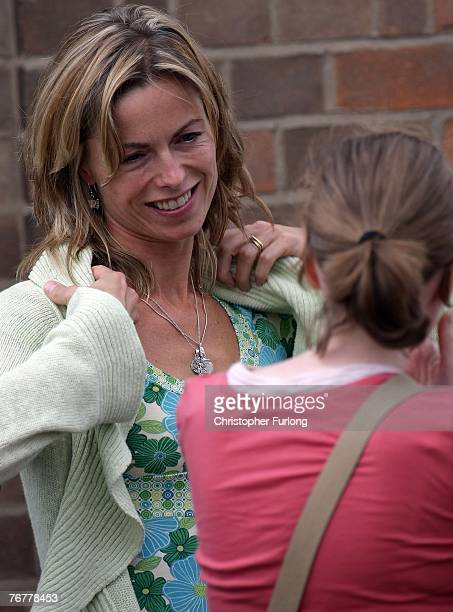 Kate McCann talks to a member of the congregation as she leaves their local church The Catholic Church of The Sacred Heart after attending Sunday...