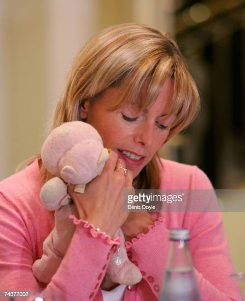 Kate McCann the mother of missing British 4yearold Madeleine McCann holds daughters' favourite cuddly toy before meeting with Spanish NGO's on June 1...