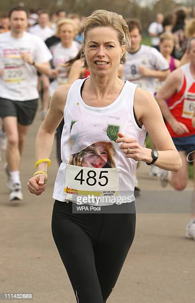 Kate McCann the mother of missing child Madeline McCann takes part in the 'Miles for Missing People' charity run in Regent's Park on April 2 2011 in...