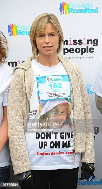 Kate McCann wearing a tshirt printed with a photo of her missing daughter Madeleine attends the Miles For Missing People 10km fundraising event at...