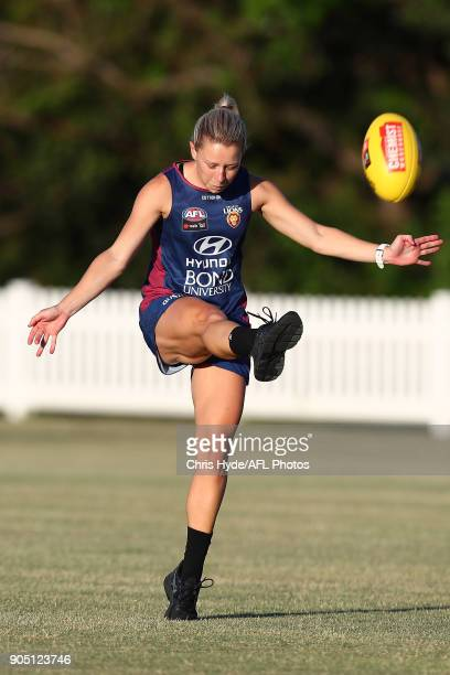 Kate McCarthy kicks during a Brisbane Lions AFL training session at Leyshon Park on January 15 2018 in Brisbane Australia