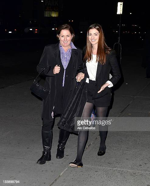 Kate McCauley Hathaway and Anne Hathaway are seen in the East Village on November 21 2011 in New York City