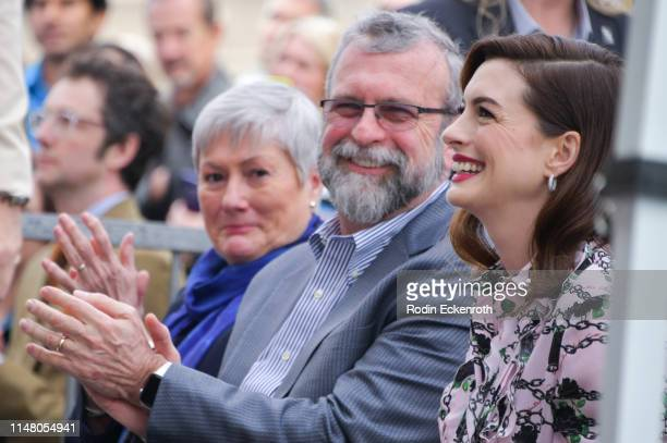 Kate McCauley Hathaway and Richard Hathaway proudly look on as their daughter actress and producer Anne Hathaway attends is honored with a star on...