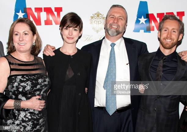 Kate McCauley Hathaway Anne Hathaway Gerald Hathaway and Adam Shulman attend the opening night of Ann at Vivian Beaumont Theatre at Lincoln Center on...