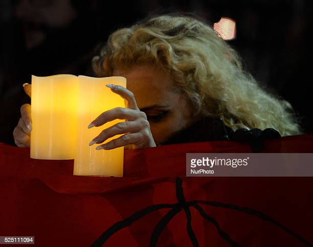 Kate McGrew Sex Workers Alliance Ireland during a candlelit vigil outside Leinster House in Dublin to mark International Day to End Violence against...