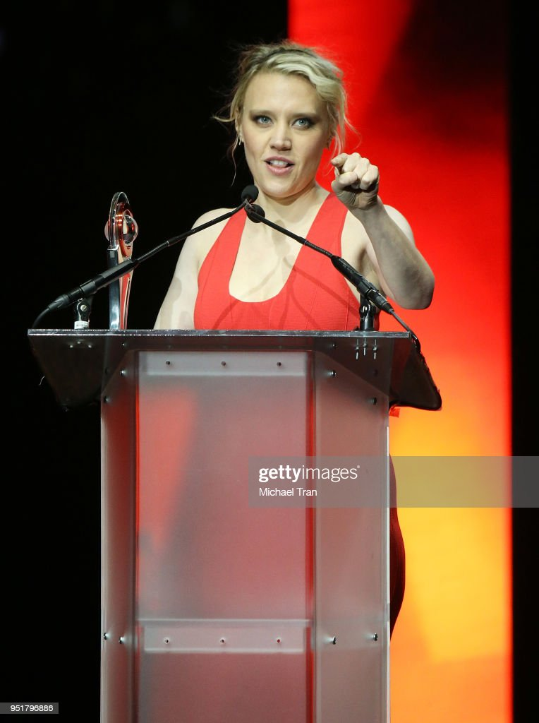 Kate McKinnon accepts the Comedy Star of the Year award onstage during the CinemaCon presents The 2018 Big Screen Achievement Awards held at The Colosseum at Caesars Palace on April 26, 2018 in Las Vegas, Nevada.