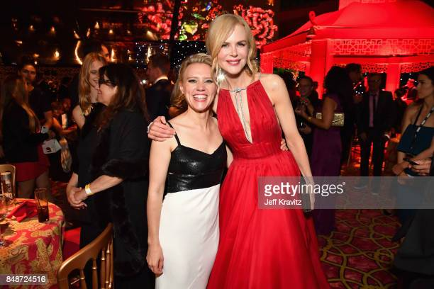 Kate McKinnon and Nicole Kidman attend the HBO's Official 2017 Emmy After Party at The Plaza at the Pacific Design Center on September 17 2017 in Los...