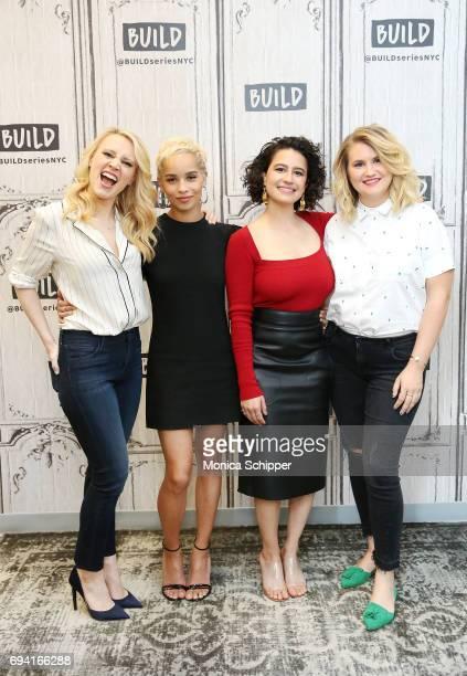 Kate McKinnon Zoe Kravitz Ilana Glazer and Jillian Bell discuss Rough Night at Build Studio on June 9 2017 in New York City