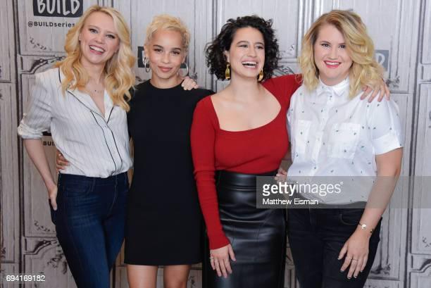 Kate McKinnon, Zoe Kravitz, Ilana Glazer and Jillian Bell discuss the new film 'Rough Night' at Build Studio on June 9, 2017 in New York City.