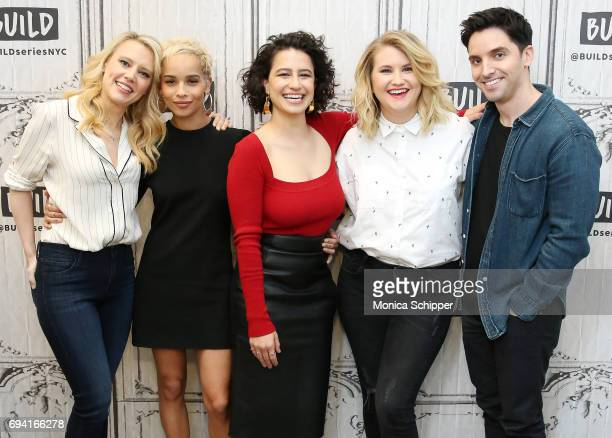 Kate McKinnon Zoe Kravitz Ilana Glazer Jillian Bell and Paul W Downs discuss 'Rough Night' at Build Studio on June 9 2017 in New York City