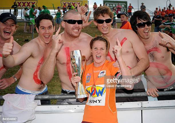 Kate Mcshea of the Roar celebrates victory with the fans during the WLeague 2009 Grand Final match between the Queensland Roar and Canberra United at...