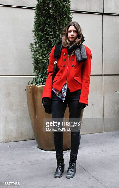 Kate Mester of Fivestory New York seen wearing a Christian Lacroix jacket vintage flannel shirt Top Shop jeans Steve Madden boots and an IRO bag...