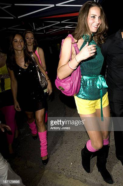 Kate Middleton And Her Sister Pippa Arrive At The Renaissance Rooms In South London For The DayGlo Midnight Roller Disco An Event Organised In Aid Of...