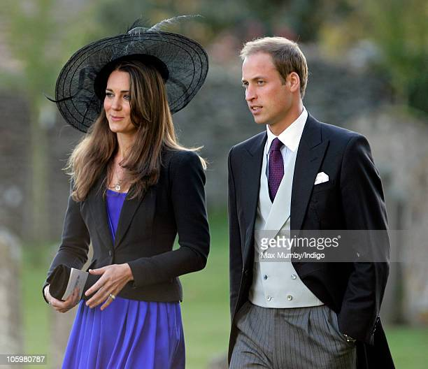 Kate Middleton and Prince William attend Harry Meade Rosie Bradford's wedding at the Church of St Peter and St Paul on October 23 2010 in Northleach...