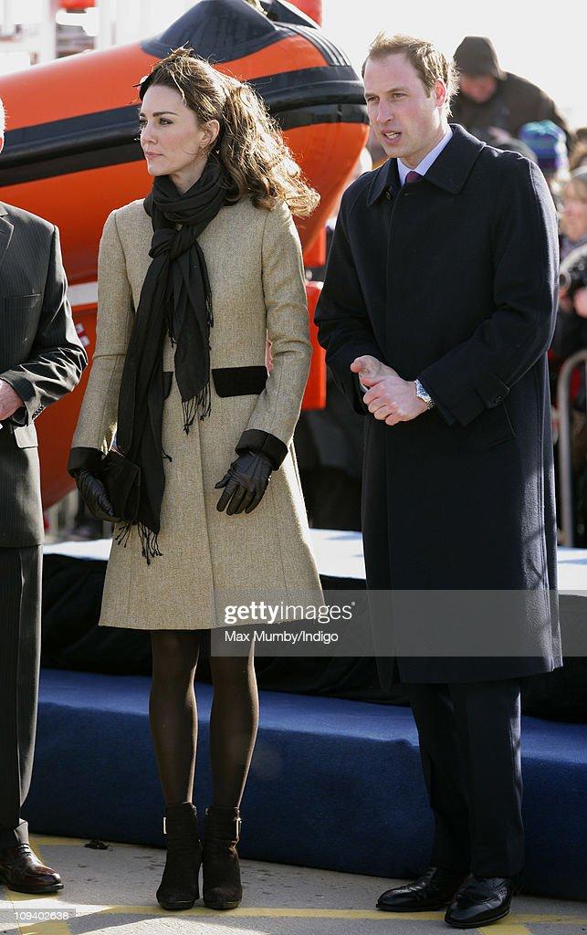 Prince William and Kate Middleton visit Trearddur Bay RNLI Lifeboat Station : News Photo
