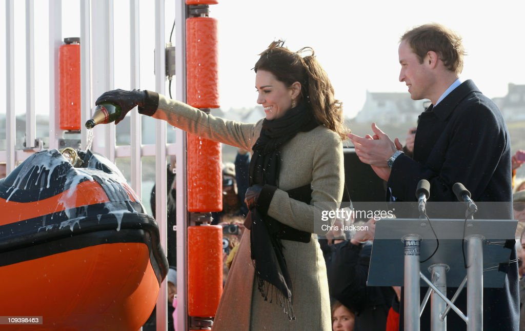 Kate Middleton and Prince William launch the new Hereford Endeavour lifeboat as they visit Trearddur Bay Lifeboat Station at Anglesey on February 24, 2011 in Trearddur, Wales. The newly engaged couple named the Trearddur Bay Lifeboat Station's new Atlantic 85 inshore lifeboat the 'Hereford Endeavour.' The vessel was launched during the naming ceremony and the crew demonstrate some of her rescue capabilities. The country is gearing up for the much anticipated wedding of the couple scheduled to take place on April 29, 2011 at Westminster Abbey in London.