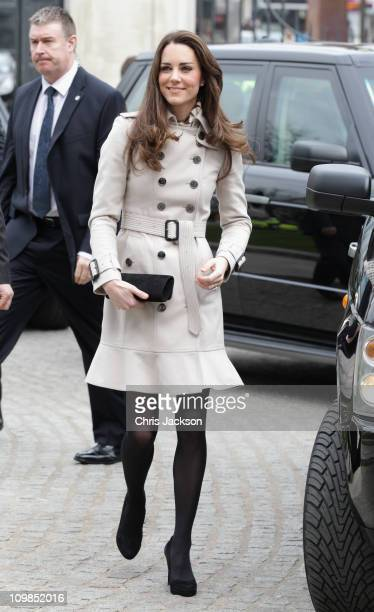 Kate Middleton arrives at City Hall on March 8 2011 in Belfast Northern Ireland The Royal Couple are visiting Northern Ireland as part of a tour of...