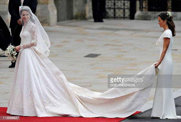 Kate Middleton arrives with her sister Philippa Middleton to the West Door of Westminster Abbey in London for her wedding to Britain's Prince William...