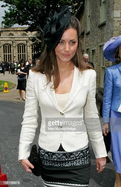 Kate Middleton attends the wedding of Hugh Van Cutsem and Rose Astor at Burford Parish Church on June 4 2005 in Burford England