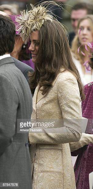 Kate Middleton departs the wedding of Laura Parker Bowles and Harry Lopes at St Cyriac's Church Lacock on May 6 2006 in Wiltshire England 26year old...