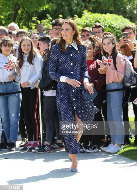 Kate Middleton Duchess of Cambridge seen arriving at the DDay exhibition at Bletchley Park England