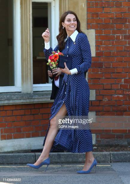 Kate Middleton Duchess of Cambridge seen leaving after her visit to the DDay exhibition at Bletchley Park England