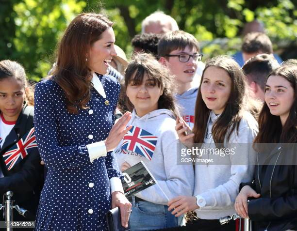 Kate Middleton Duchess of Cambridge seen meeting schoolchildren as she arrives to visit the DDay exhibition at Bletchley Park England
