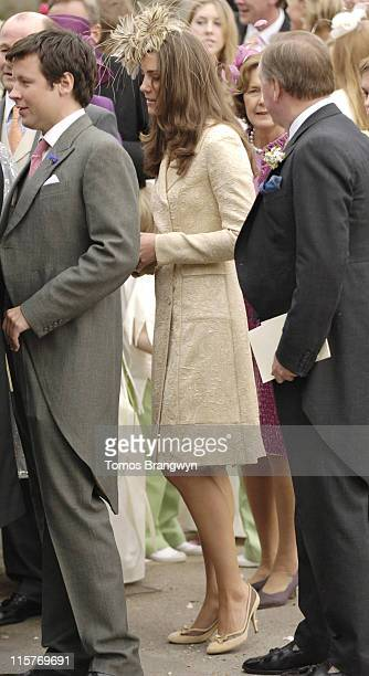Kate Middleton during Laura Parker Bowles and Harry Lopes – Wedding at St Cyriac's Church in Lacock Great Britain