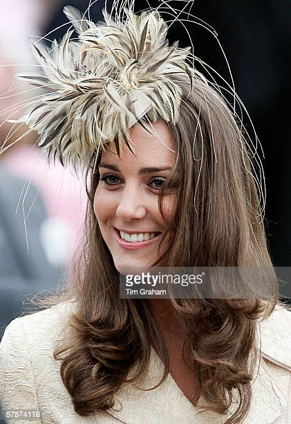 Kate Middleton girlfriend of Prince William attends the marriage of Laura ParkerBowles and Harry Lopes at St Cyriac's Church Lacock on May 6 2006 in...