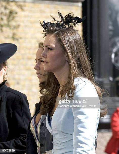 Kate Middleton girlfriend of Prince William attends the wedding of Lady Rose Windsor and George Gilman at the Queen's Chapel near St James's Palace...