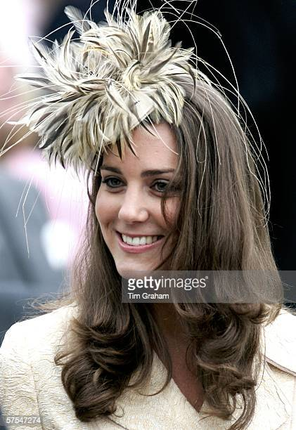 Kate Middleton girlfriend of Prince William is seen at the wedding of Laura Parker Bowles and Harry Lopes at St Cyriac's Church Lacock on May 6 2006...
