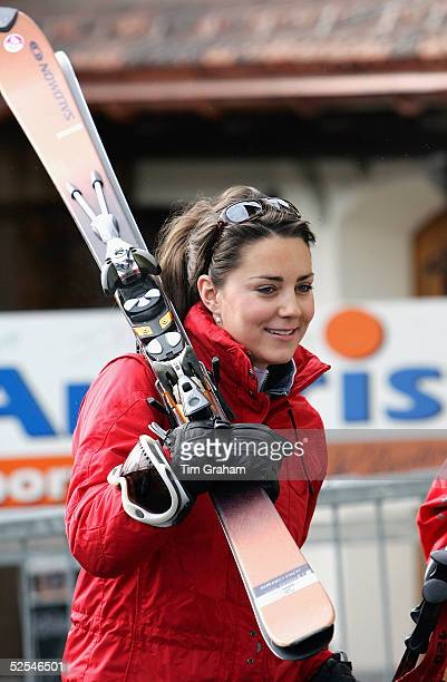 Kate Middleton girlfriend of Prince William join in with the royal ski party in Klosters on March 30 2005 in Switzerland
