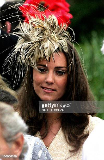 Kate Middleton girlfriend of Prince William leaves Lacock Cyraiax Church after the wedding of Harry Lopes and Laura ParkerBowles daughter of Camilla...
