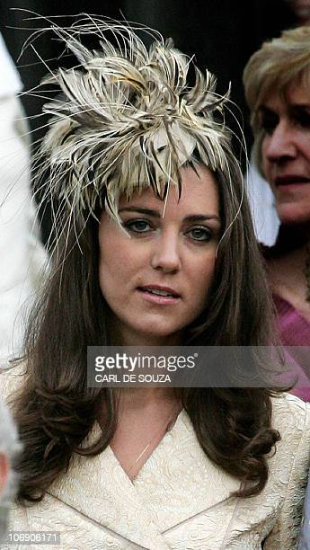 Kate Middleton girlfriend of Prince William leaves Lacock Cyraiax Church for the wedding of Harry Lopes and Laura ParkerBowles daughter of Camilla...